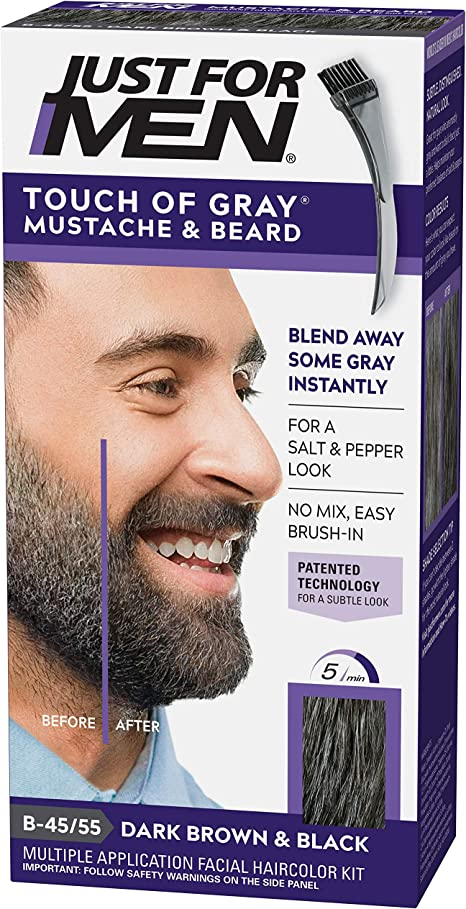 Just For Men Touch Of Gray Mustache & Beard B-45/55 coloración del cabello - Coloración del cabello (B-45/55, Dark Brown & Black)