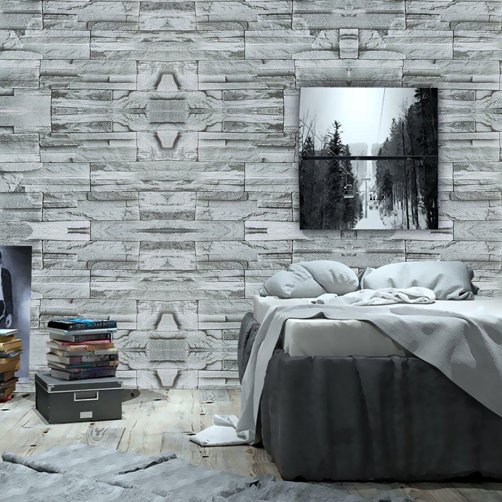 Wopeite Brick Stone Wallpaper Self Adhesive Roll Multi Brick Blocks Wall Pattern Home Room Decoration for Living room Bedroom Gray green 45 x 1000 CM