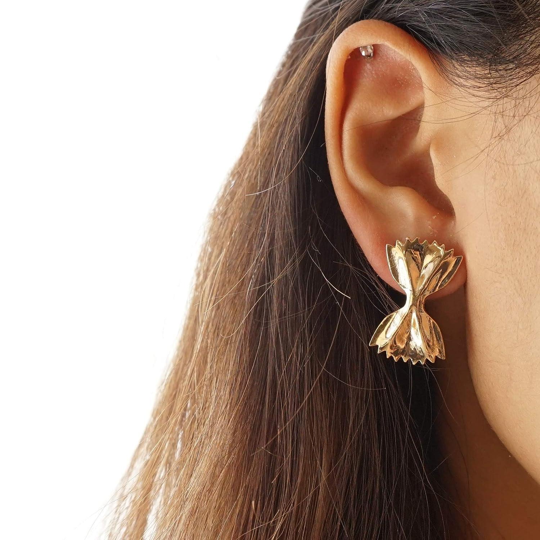 Gold Farfalle Earrings Cute Bow Tie Pasta Earrings Foodie Stud Earrings Farfalle Pasta Earrings