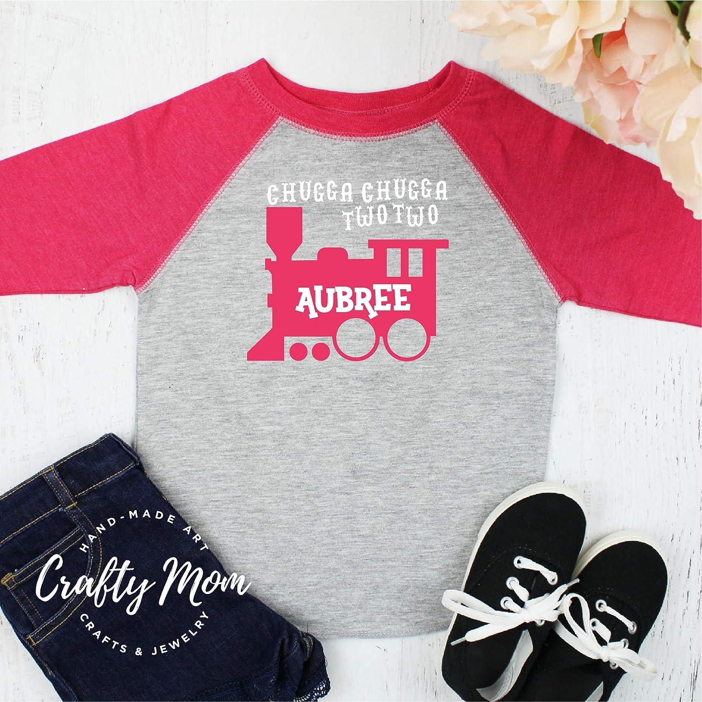 Amazon Chugga Two Train Toddler Boys Birthday Shirt Raglan Baseball Tee Handmade