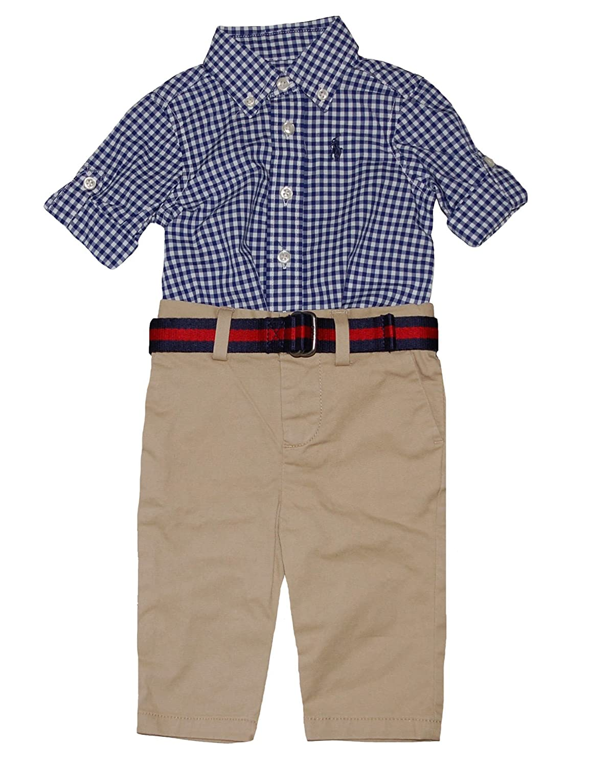 edc51d155 Amazon.com  Ralph Lauren Polo Baby Boys Gingham Shirt   Chino Pants Set (3  Months)  Baby