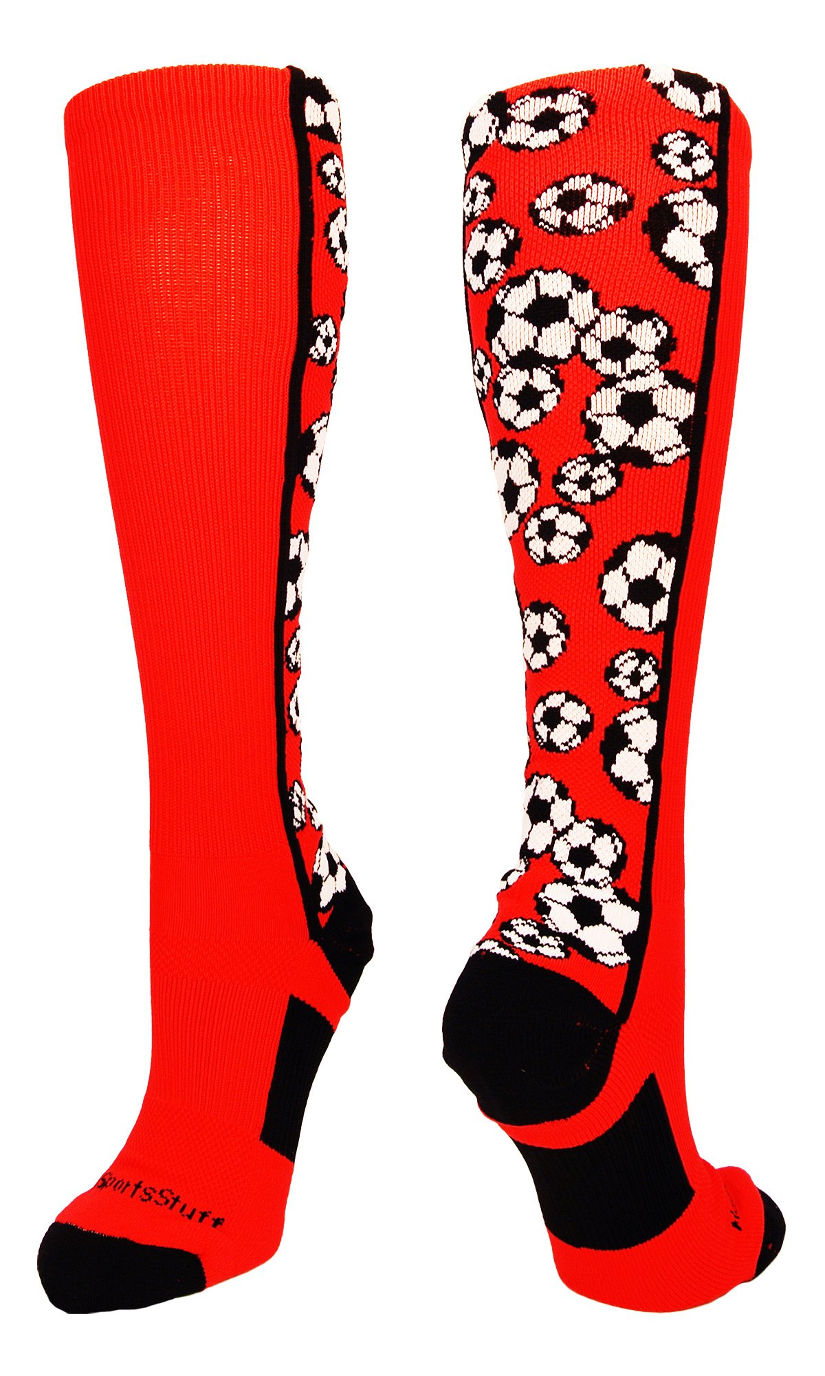 MadSportsStuff Crazy Soccer Socks with Soccer Balls Over The Calf (Red/Black, Small) by MadSportsStuff