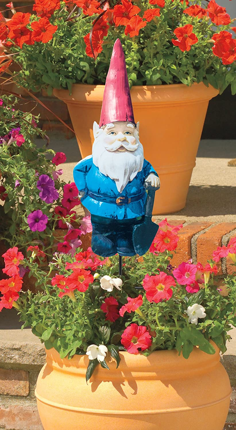 The Paragon Gnome Garden Stake   Photo Realistic Flat Metal Gnome Cutout  For Yards, Planters, Lawns And Garden Décor ...