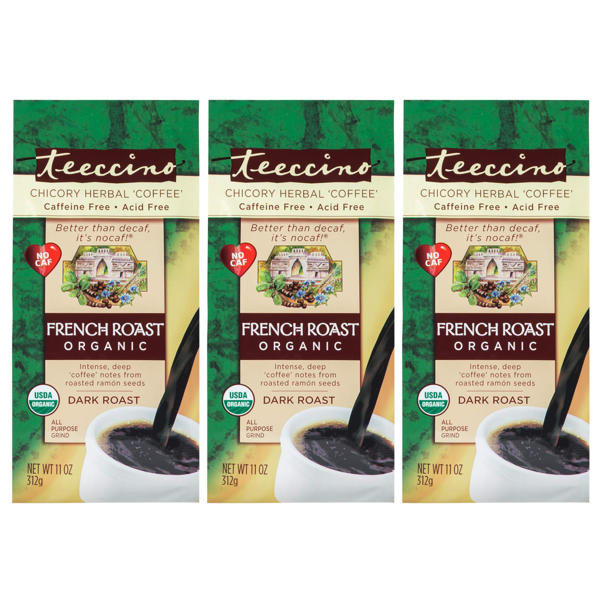Teeccino French Roast Organic Chicory Herbal Coffee Alternative, Caffeine Free, Acid Free, Coffee Substitute, Prebiotic, 11 Ounce (Pack of 3) by Teeccino