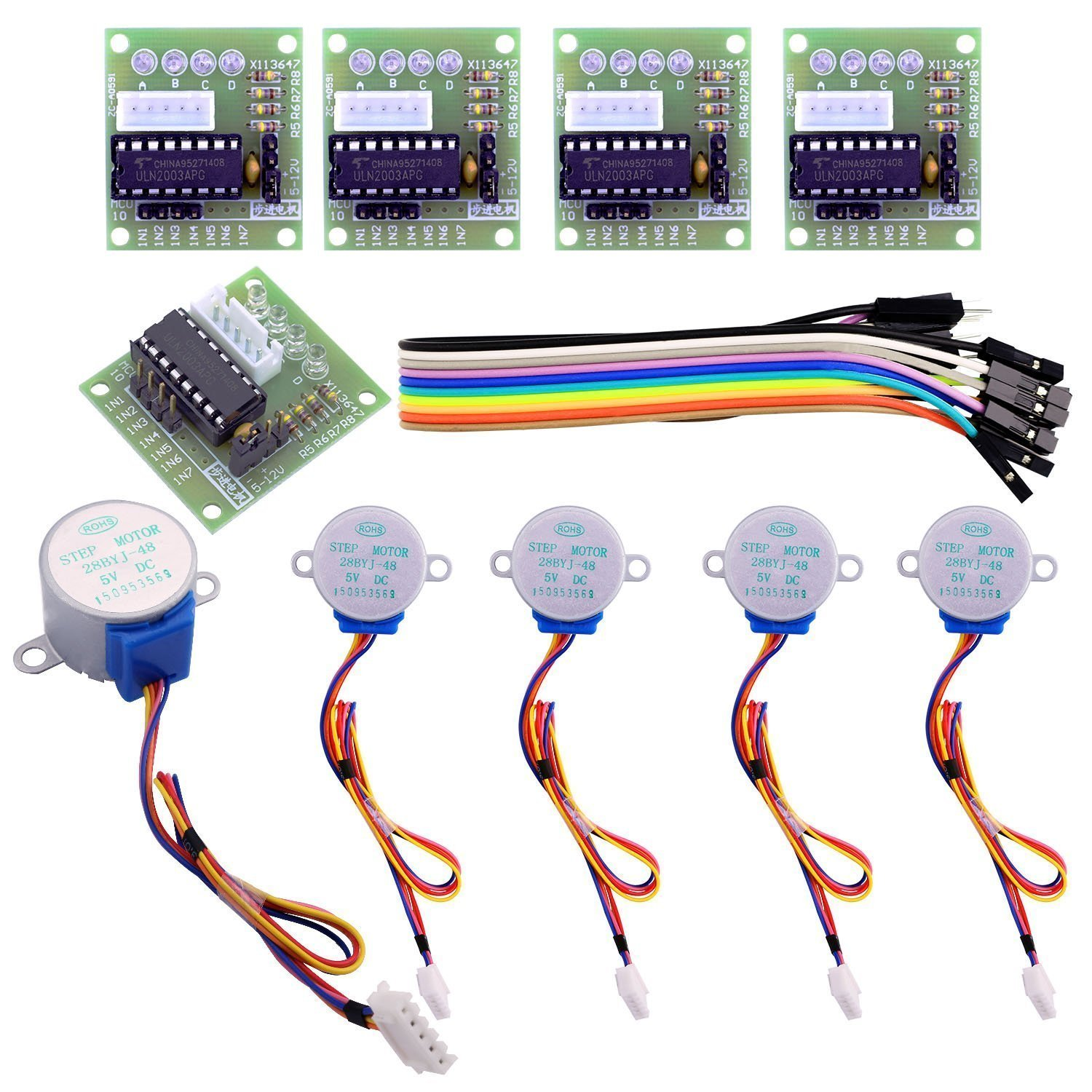Easyget 5pcs Sets 28BYJ-48 ULN2003 5V Stepper Motor + ULN2003 Driver Board for Arduino 4332013348