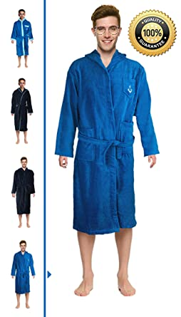 a25a459de2 Bathrobe Blue Hooded Velour Terry Cotton by Abstract for Boys and Men (4)
