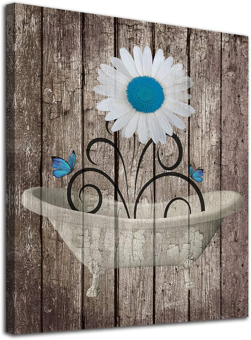 """Bathroom Wall Art Daisy Canvas Pictures Modern Flower Bathtube Artwork Rustic Wood Board Background Contemporary Wall Art Decor Bedroom Living Room Office Home Framed Ready to Hang Brown 12"""" x 16"""""""