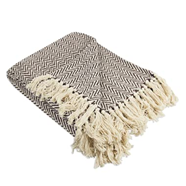 DII Rustic Farmhouse Cotton Chevron Blanket Throw with Fringe for Chair, Couch, Picnic, Camping, Beach, Everyday Use, 50 x 60 - Mini Chevron Dark Brown