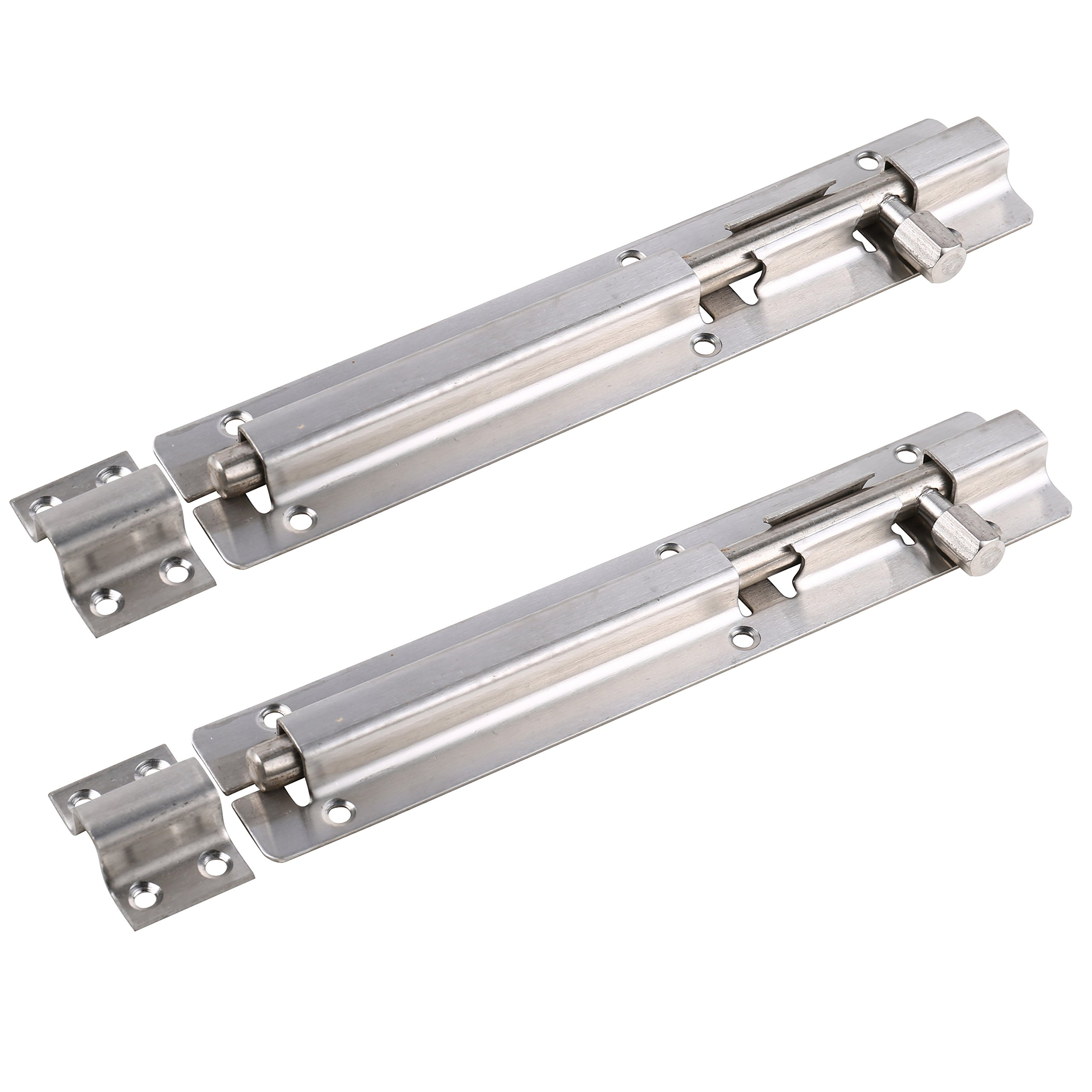 UHPPOTE Security Guard Stainless Steel Anti-thief Revealed Door Slide Latch Bolt Barrel (8 inch/Pack of2)