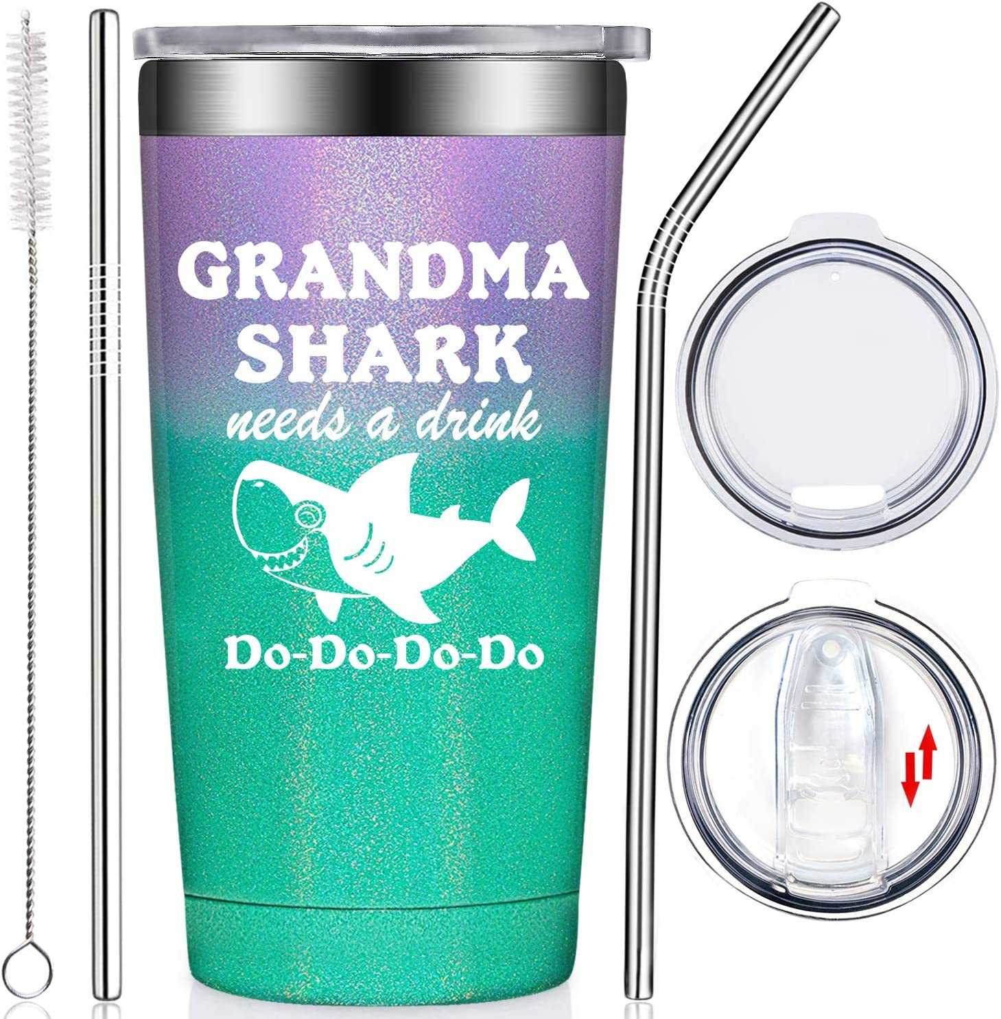Fufendio Grandma Gifts from Granddaughter Grandson Grandchildren Grandkids - Grandma Shark Needs A Drink - Funny Mothers Day Great Grandma Birthday Present for Best New Grandmother Nana Mom Tumbler