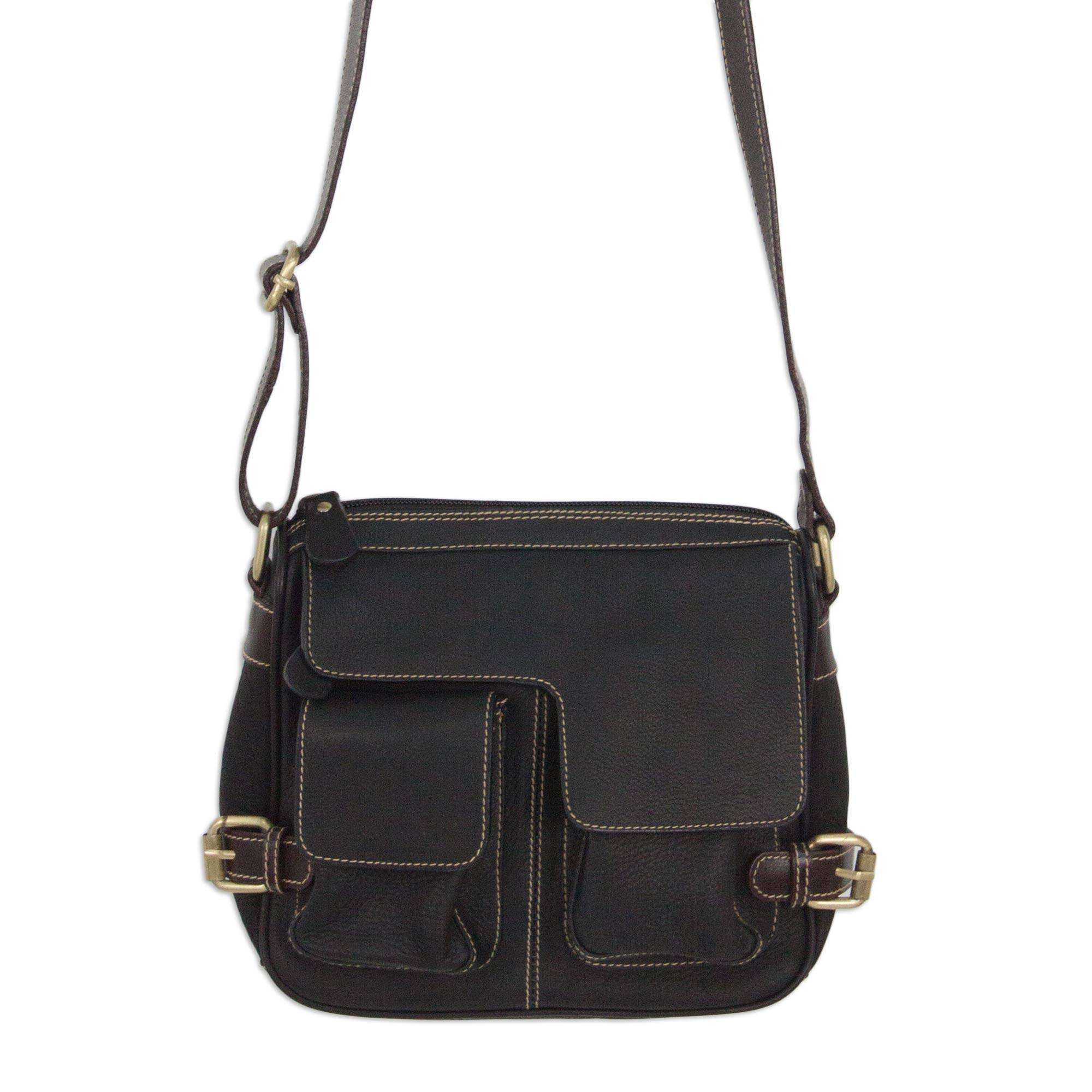 NOVICA Black Leather Shoulder Bag, 'Travel Smart in Black'