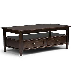 Simpli Home AXWSH001-TB Warm Shaker Solid Wood 48 inch wide Rustic Coffee Table in Tobacco Brown