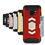 Card Holder Case for Galaxy A6, Magnetic Dual Layer