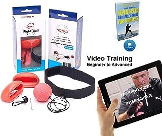 StrikeGuru–Fight Ball Reflexpour la boxe –Balle de réflexe pour l'entraînement, fitness, MMA, combat et sports de combat–avec bandeau et gants– équipement d'e