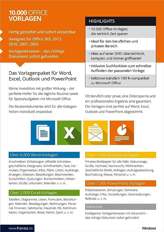 Franzis 10000 Office Vorlagen 2017 Franzis Amazonde Software