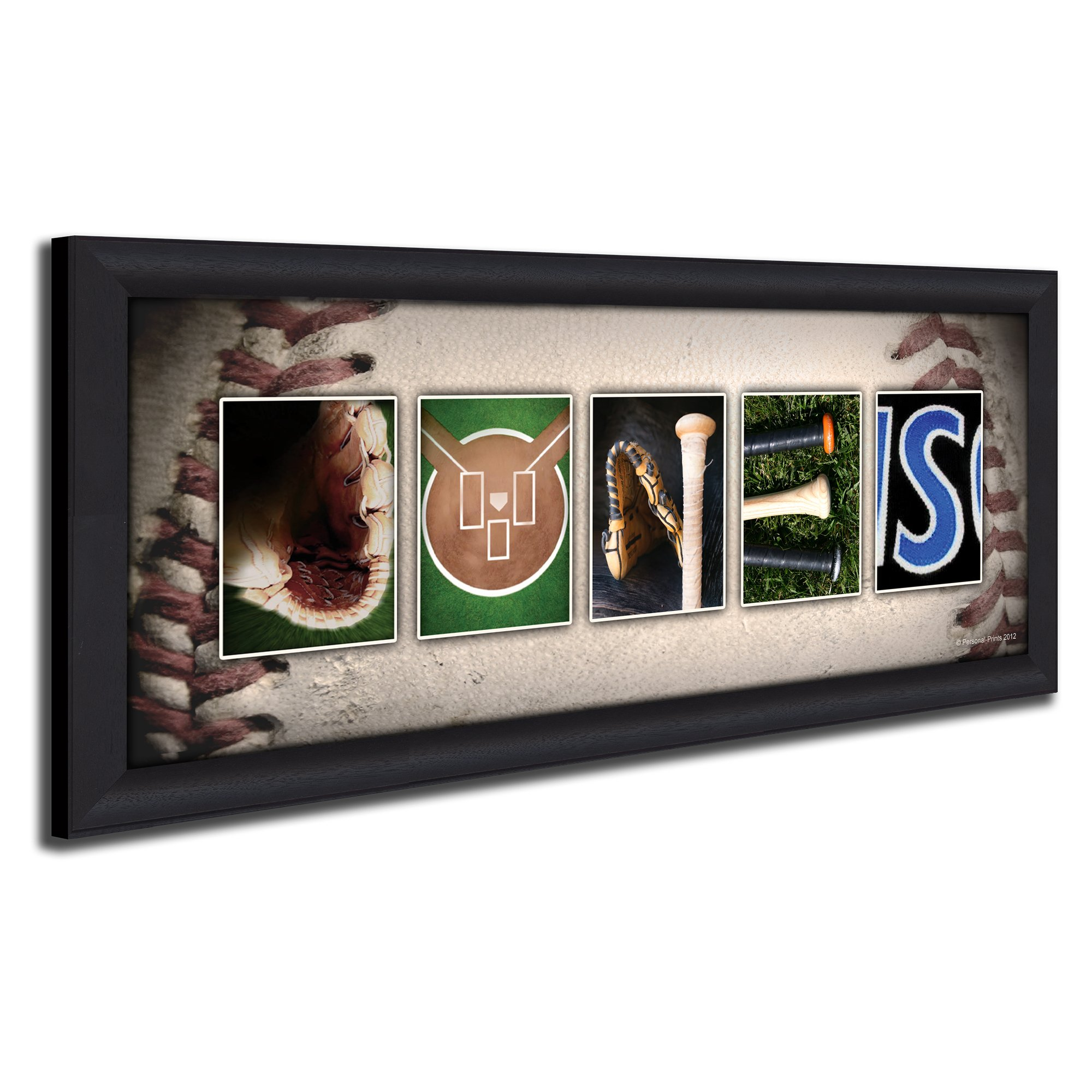 Framed Canvas - Personalized Baseball Name Art Print for man cave, boys room, or office! by Personal Prints