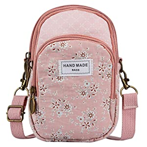 Cell Phone Messenger Bag for Women, Techcircle Canvas Flower Pattern Purse Small Crossbody Zipper Wallet Case with Adjustable Shoulder Strap for iPhone 8 Plus, Samsung Galaxy Note 7, Pink