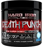 Pre Workout for Men Hard Iron Labs Death Punch Pre Workout Powder Energy Drink w/ Nitric Oxide, Citrulline Malate, Creatine, & Beta Alanine, Blue Razz, 30 Servings