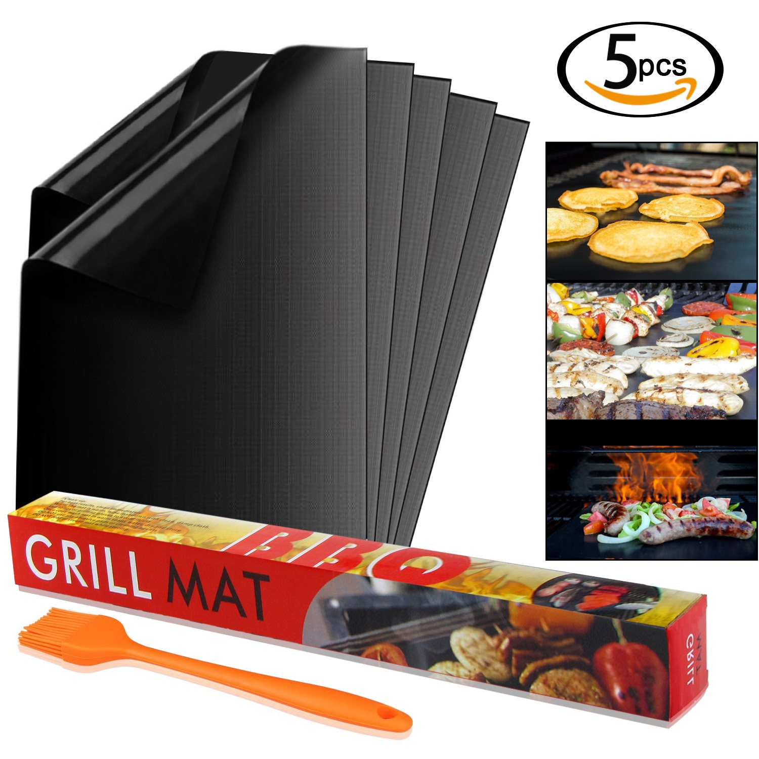SunTop 5pcs BBQ Grill Mat Set,40cm*33cm Barbecue Sheets, Non Stick Oven Liner Teflon Cooking Mats - Reusable, Durable, Heat Resistantand, Easy to Clean, Barbecue Sheets For Grilling Meat, Veggies, Seafood, Eggs - Ideal for Charcoal Grill / Gas Grill / Elec