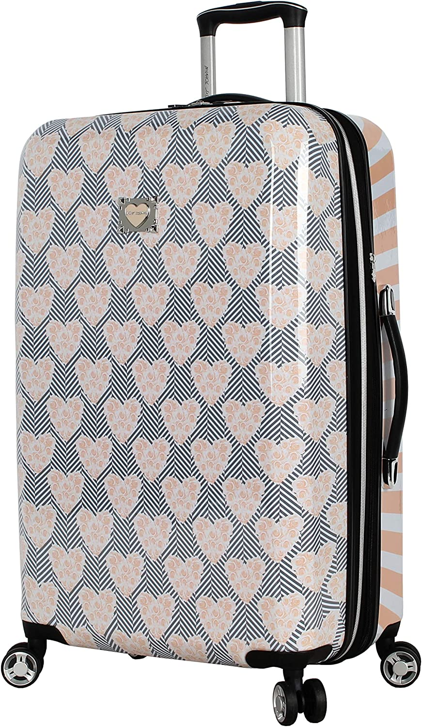 Betsey Johnson 26 Inch Checked Luggage Collection - Expandable Scratch Resistant (ABS + PC) Hardside Suitcase - Designer Lightweight Bag with 8-Rolling Spinner Wheels (Chevron Hearts)