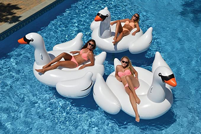 hinchable Cisne nadando Flamingo nadar Ring, Blow Up Sun Lounger Piscina Beach Air Bed flotador Raft con Rapid Valves hinchable Cisne nadando 150 * 150 * 90 ...