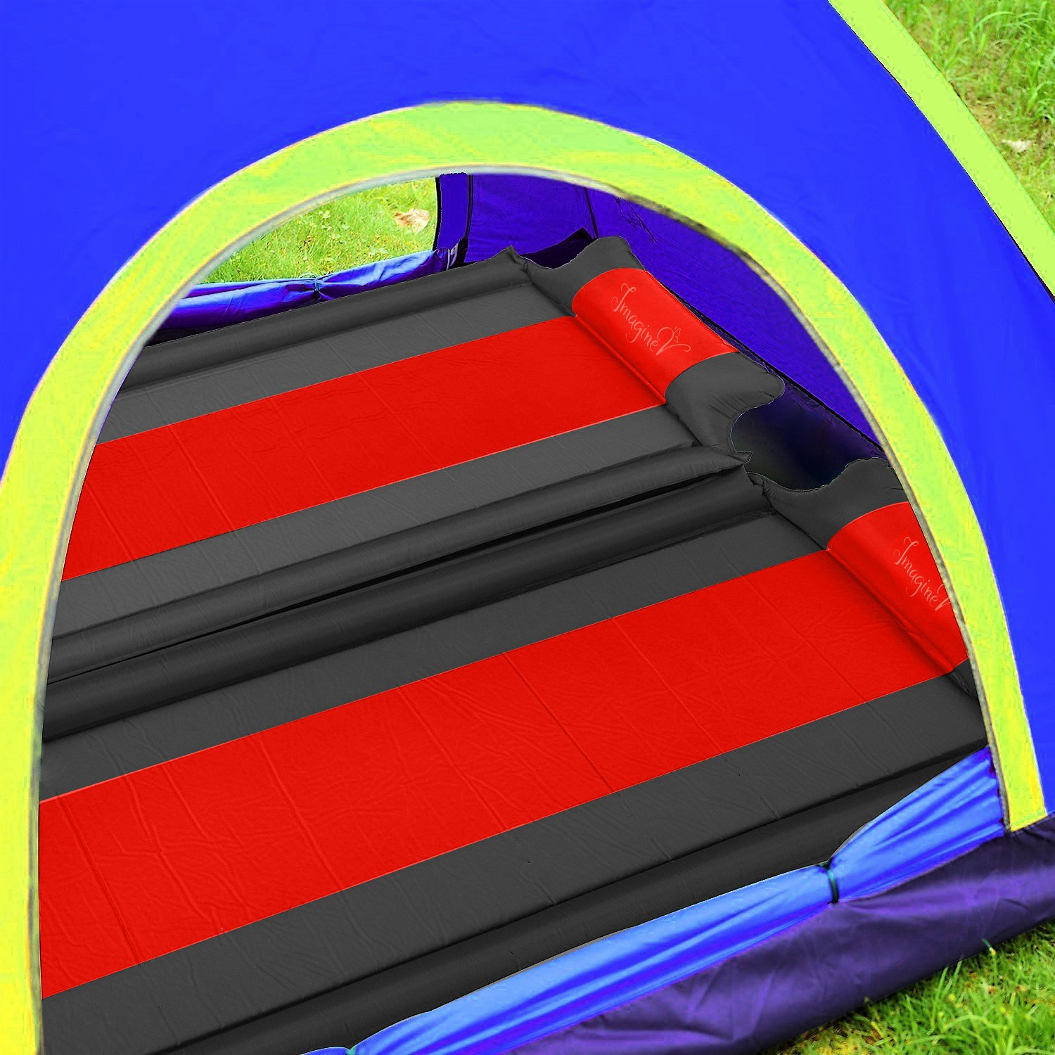 Self Inflating Sleeping Pad With Pillow & Armrests, Inflatable Camping Mat & Carrying Storage Bag-Comfortable Single Air Mattress Pad For Camping, Hiking, Backpacking, Sleepover, Travel. ImagineV