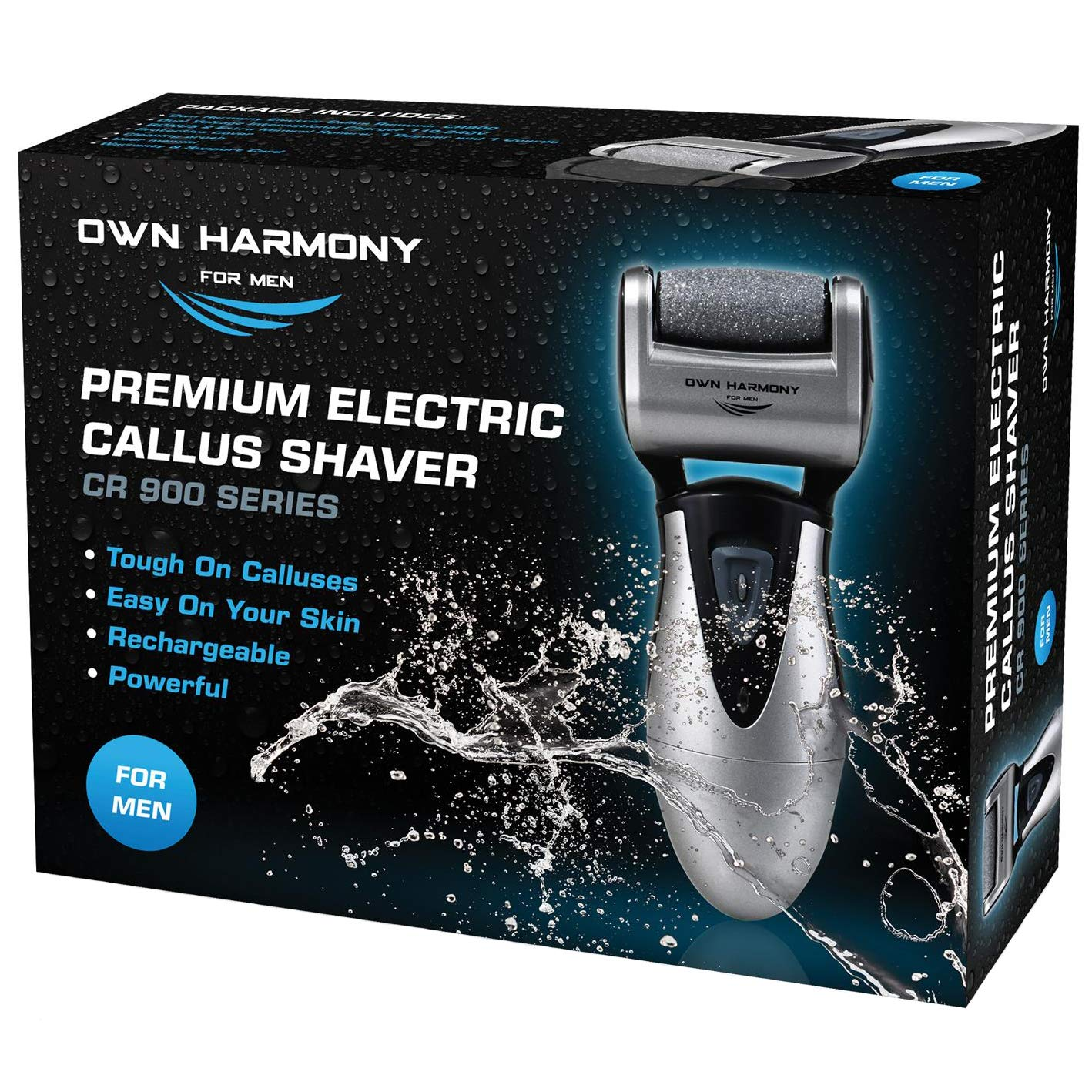 Callus Remover: Electric Rechargeable Pedicure Tools for Men by Own Harmony -3 Rollers (Tested Powerful) Best Foot File, Professional Spa Electronic Micro Pedi Feet Care Perfect for Hard Cracked Skin