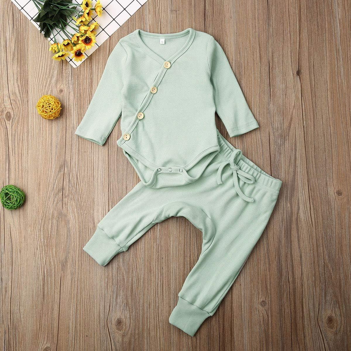 Pants Pajamas Set 0-18M LIjieganxin 2PCS Newborn Baby Unisex Side Button Type Ribbed Cotton Knit Jumpsuit