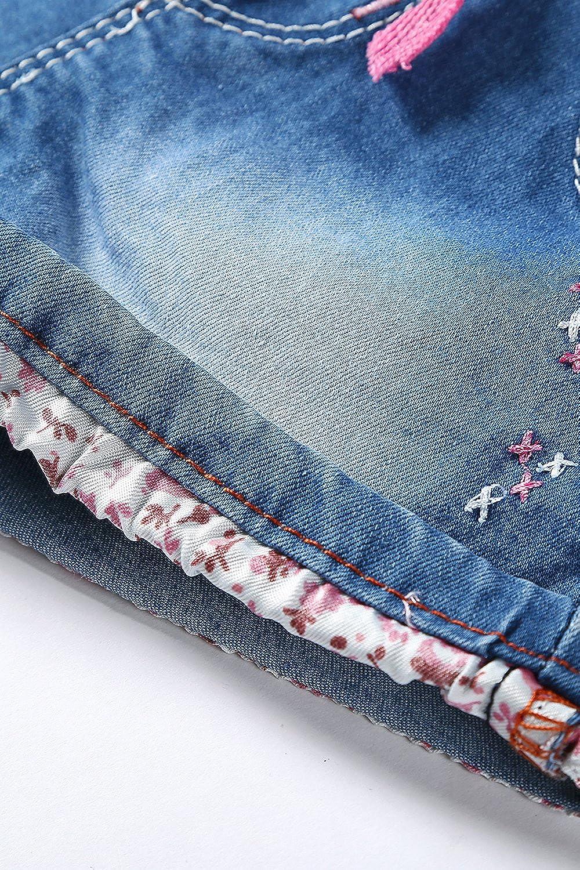 LITTLE-GUEST Girls Jeans Shorts Kids Clothes Drawstring Waistband Toddler Denim Pants G305
