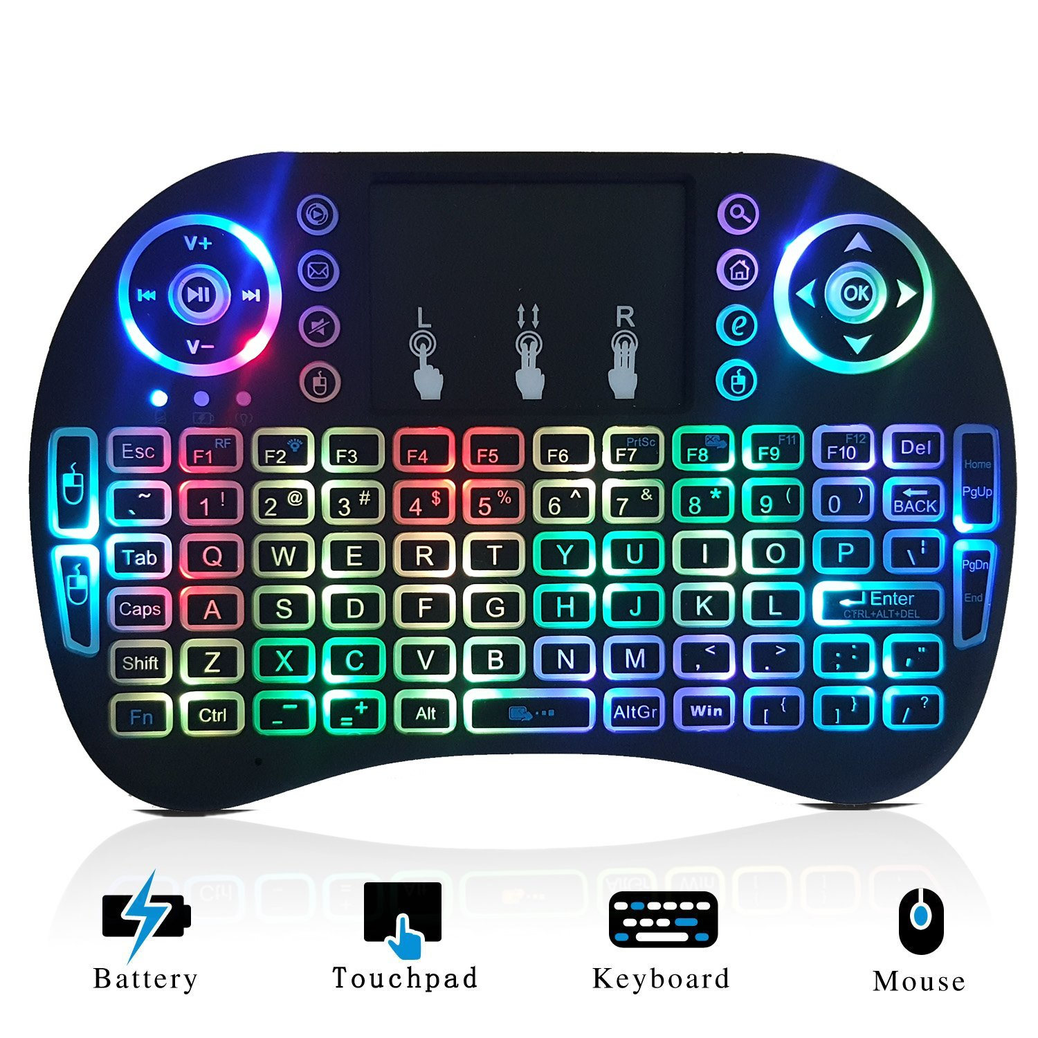 Mini Wireless Keyboard Backlit and Touchpad Mouse Combo for Smart TV Google  Android Box Xbox One KODI XBMC Multi-media Player PC PAD - Remote