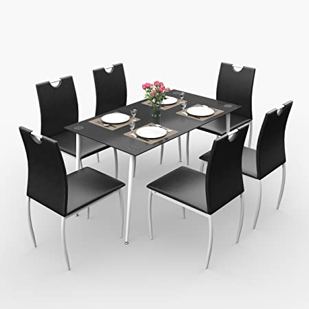 Forzza Alberta Six Seater Dining Table Set (Black)