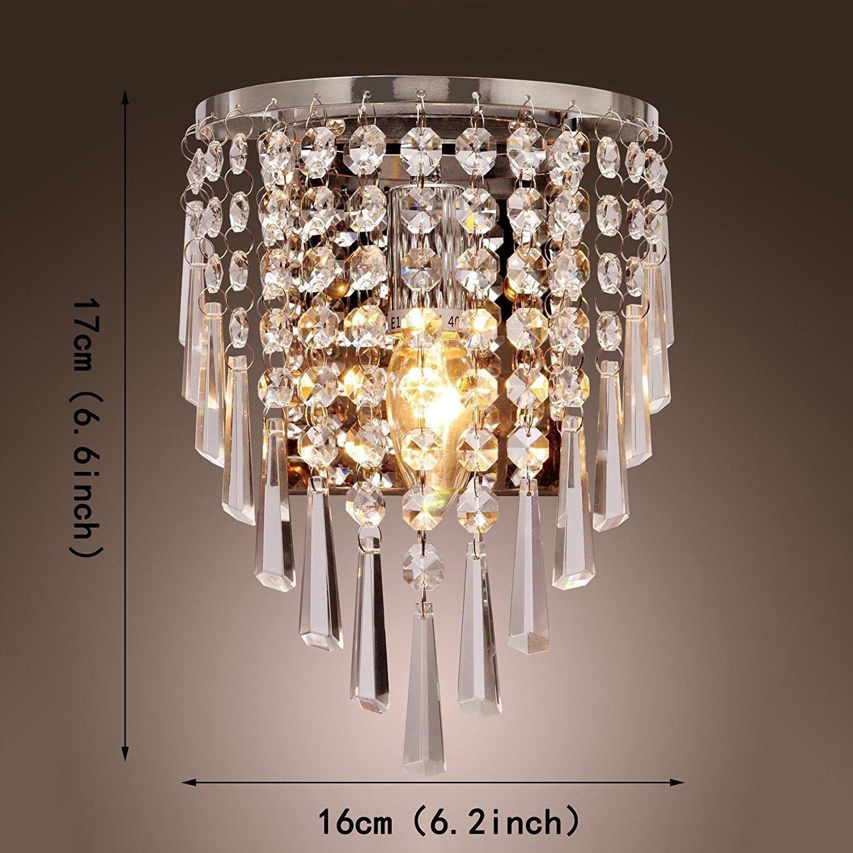 Lightess Apliques de Pared L/ámpara Cristal LED 40W L/ámpara de Pared Casquillo E14 Luz Moderna para Decoraci/ón del hogar Sala de Estar No Incluye Bombilla