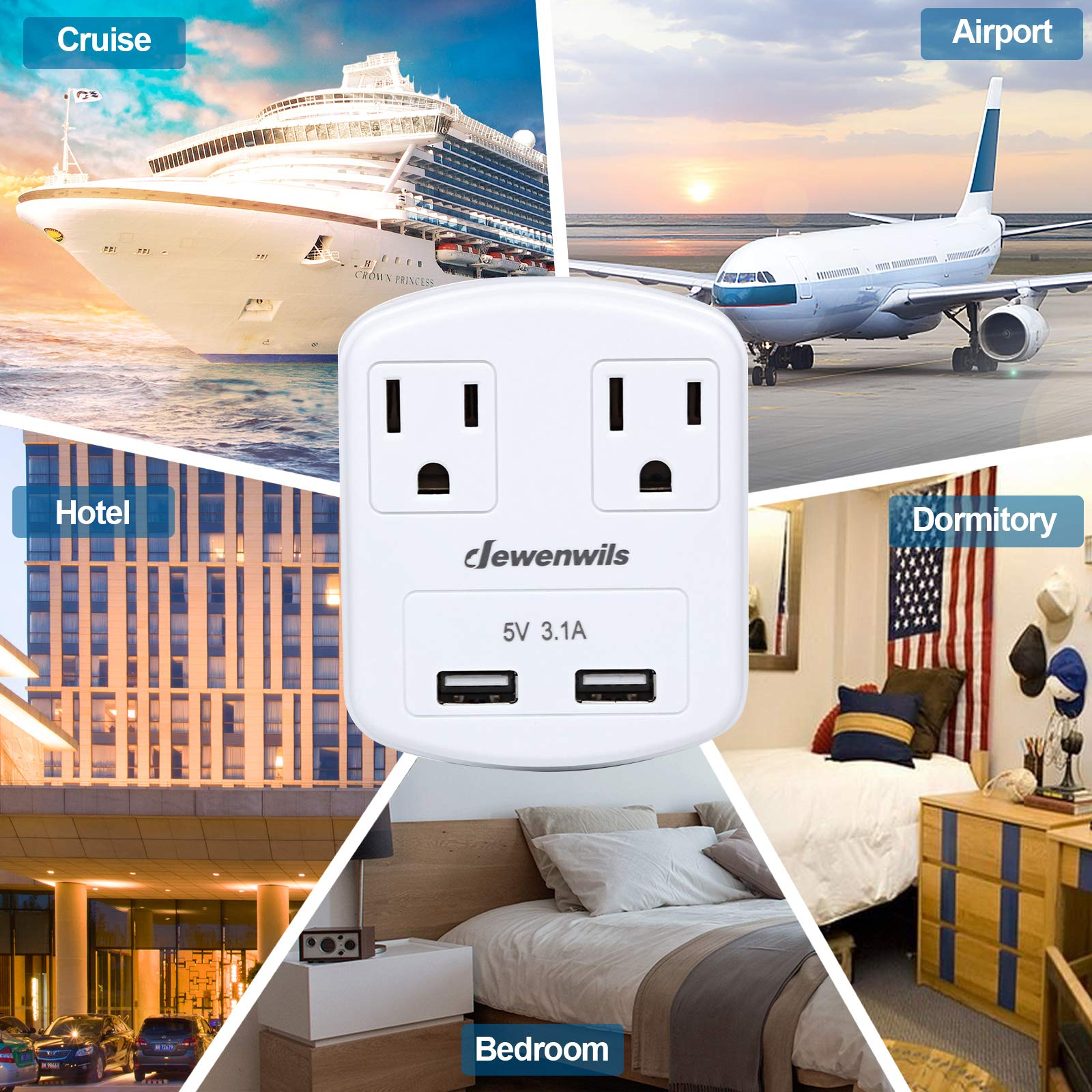 Dewenwils Multi Outlet Plug with 2 USB Ports (3.1A Total), Small Power Strip USB Charger for Cruise Ship/Hotel / Dormitory, Compatible with GFCI, ETL Listed, White by DEWENWILS (Image #6)