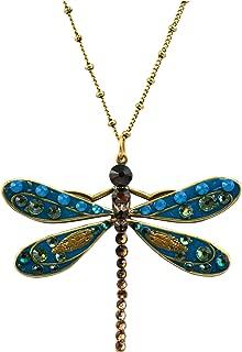 product image for Anne Koplik Gold Plated Large Blue Enamel Dragonfly Pendant Necklace