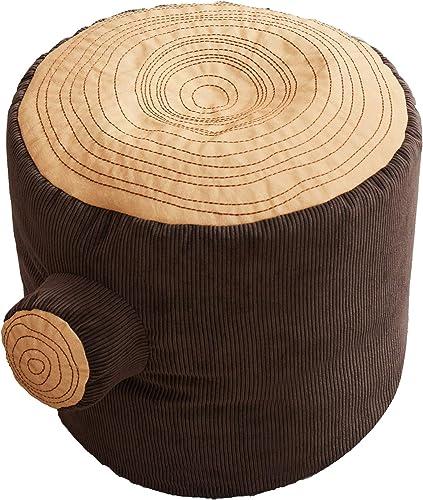 Asweets Fun Comfortable Tree Stump Log Pouf Versatile Home Cushioned Ottoman