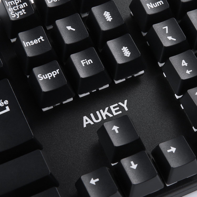 Aukey Teclado Gaming mecánico 105 teclas teclado de juego AZERTY Layout [Interruptor Azul], llaves sin conflicto complètement y extractor de picada ...