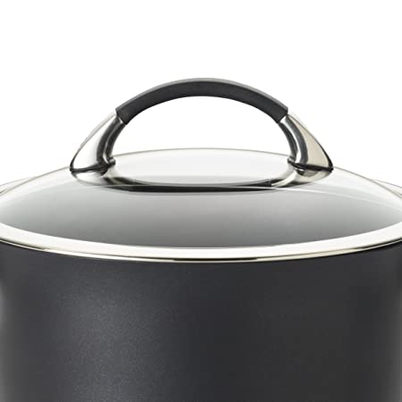 Circulon Symmetry Hard Anodized Nonstick Straining Saucepan, 3.5-Quart, Black