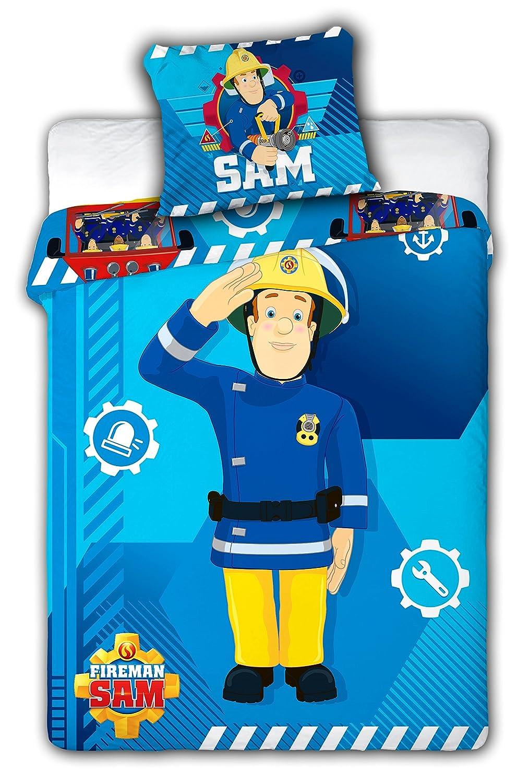 Sam Bombero Juego de cama funda nó rdica de 100 x 135 + funda de almohada de 40 x 60 ropa de cama reversible de Fireman Sam 100% algodó n Faro