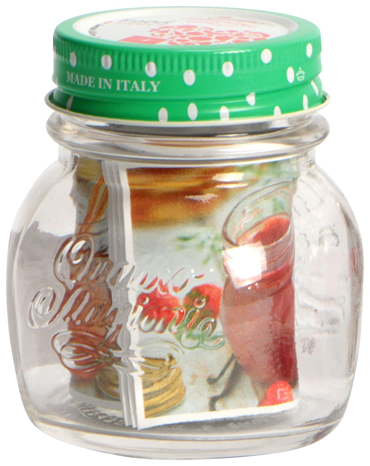 Bormioli Rocco Food Lovers Four Seasons Vase with Lid Glass/Aluminium 7 x 7 x 9 cm Assorted Colours 8405