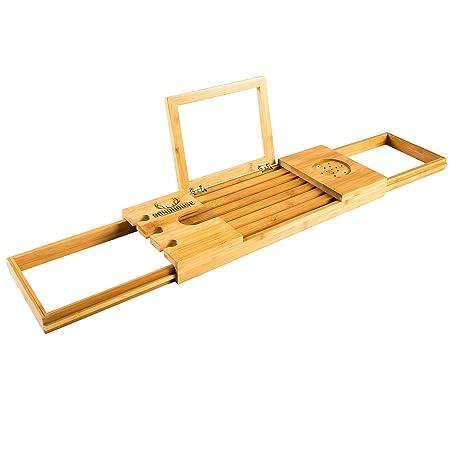 Premium Bamboo Bath Caddy - Luxurious Wooden Bathtub Tray - Book ...