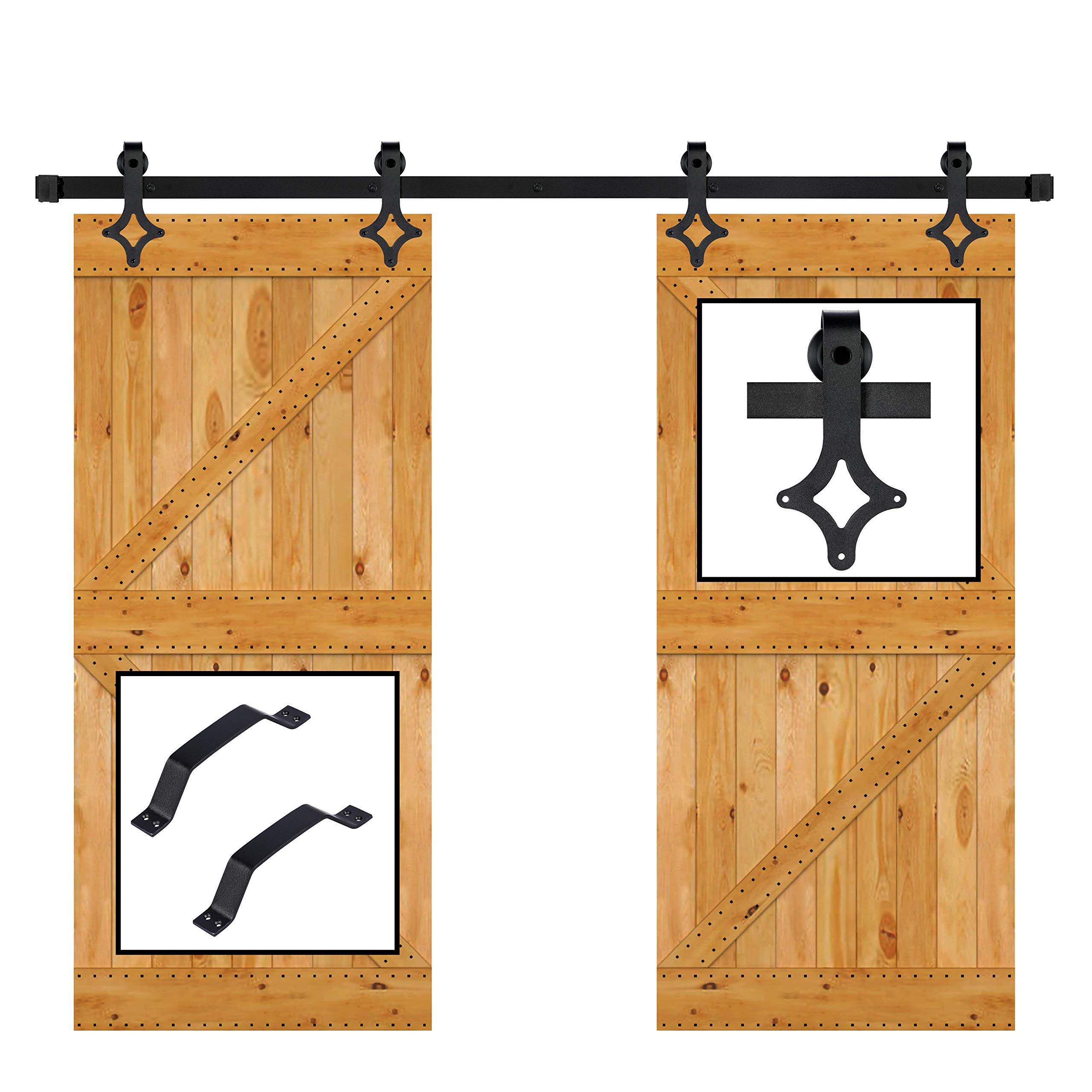 skysen 10FT Double Door Sliding Barn Door Hardware Kit Black (Rhombic Shape)