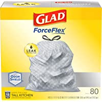 Glad Tall Kitchen Drawstring Trash Bags – ForceFlexPlus 13 Gallon White Trash Bag, OdorShield – 80 Count