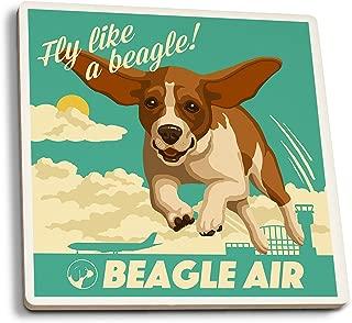 product image for Lantern Press Beagle - Retro Aviation Ad (Set of 4 Ceramic Coasters - Cork-Backed, Absorbent)