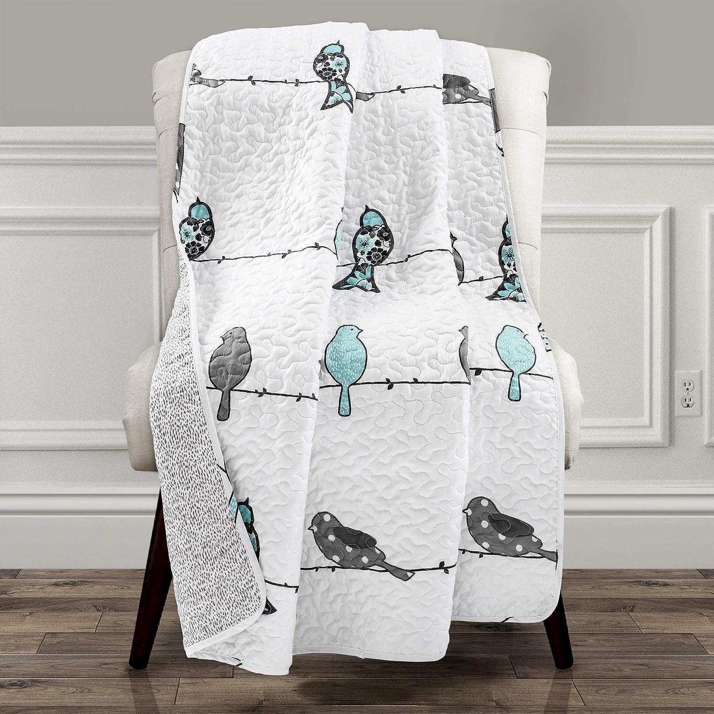"""Lush Decor Rowley Birds Throw Blanket, Blue & Gray, 60"""" L x 50"""" W"""