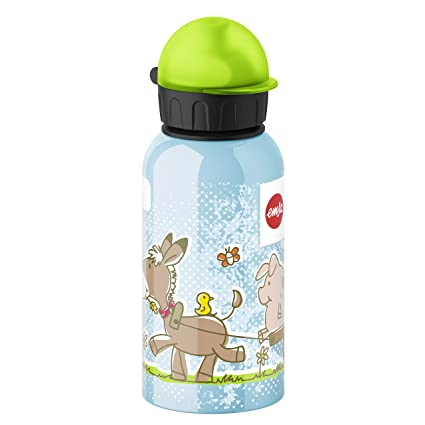 Emsa 514397 Botella Infantil Granja 0.4 L, Acero Inoxidable, 10x10x32 cm