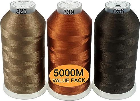 Polyester Fil machine /à broder /Énorme bobine 5000M pour toutes les machines /à broder New brothread Lot de 2 Blanc+Noir