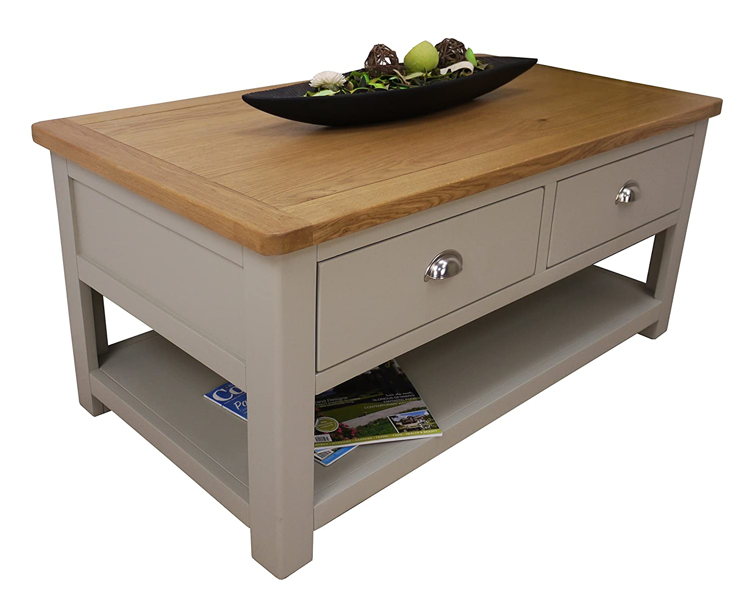 Aspen Painted Oak Sage Grey 2 Drawer Coffee Table With Shelf