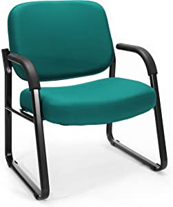 OFM Big and Tall Reception Chair with Arms - Mid-Back Guest Chair, Teal