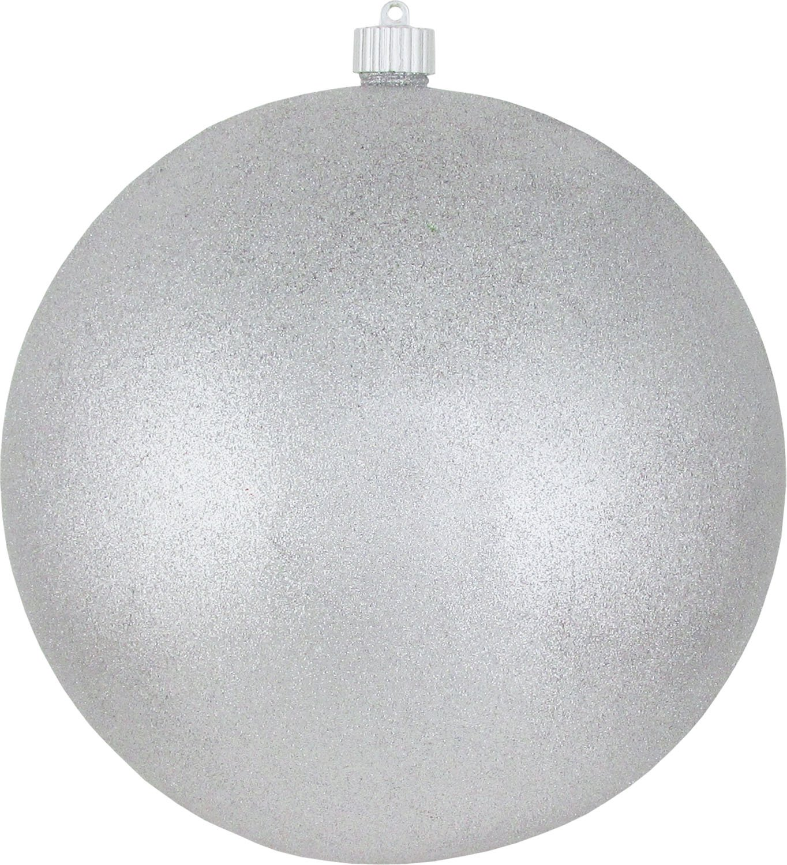 Christmas By Krebs CBK40510 Shatterproof UV-Resistant Christmas Ball Ornaments 10'' Silver Glitter 4 Piece
