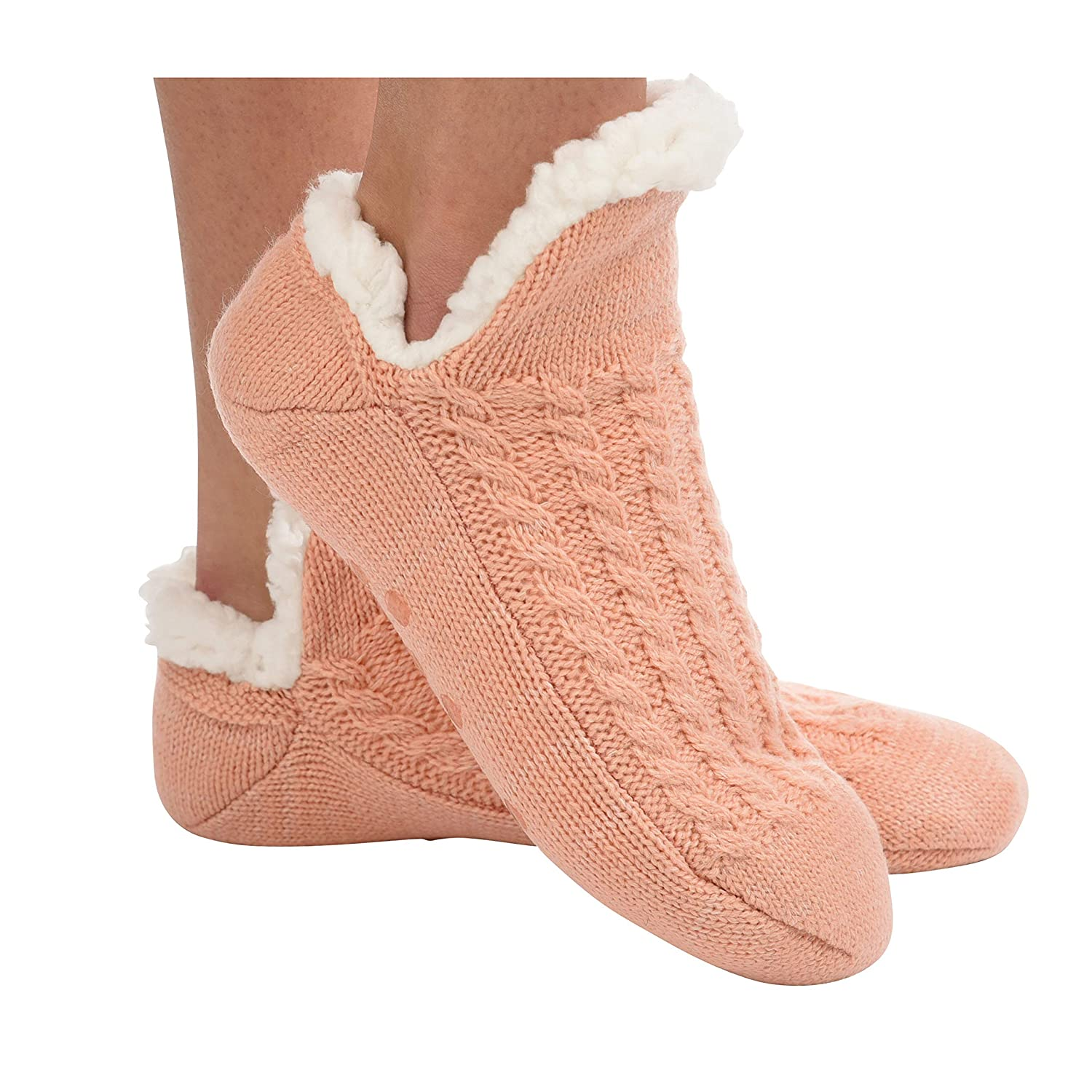 Snoozies Womens Sherpa Socks Microcrew Cable Sherpa Socks for Women